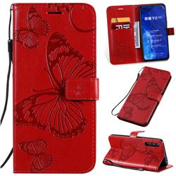 Embossing 3D Butterfly Leather Wallet Case for Huawei Honor 9X Pro - Red