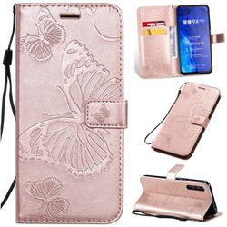 Embossing 3D Butterfly Leather Wallet Case for Huawei Honor 9X Pro - Rose Gold