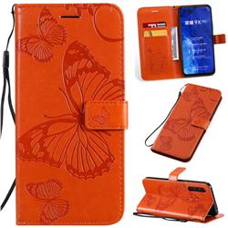 Embossing 3D Butterfly Leather Wallet Case for Huawei Honor 9X Pro - Orange