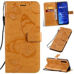 Embossing 3D Butterfly Leather Wallet Case for Huawei Honor 9X Pro - Yellow