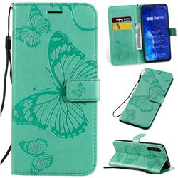 Embossing 3D Butterfly Leather Wallet Case for Huawei Honor 9X Pro - Green