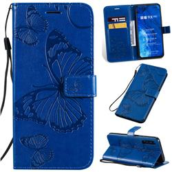 Embossing 3D Butterfly Leather Wallet Case for Huawei Honor 9X Pro - Blue