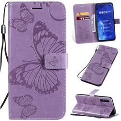 Embossing 3D Butterfly Leather Wallet Case for Huawei Honor 9X Pro - Purple