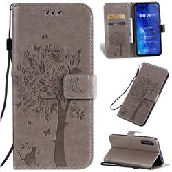 Embossing Butterfly Tree Leather Wallet Case for Huawei Honor 9X Pro - Grey