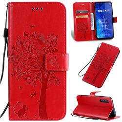 Embossing Butterfly Tree Leather Wallet Case for Huawei Honor 9X Pro - Red
