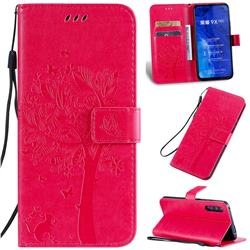 Embossing Butterfly Tree Leather Wallet Case for Huawei Honor 9X Pro - Rose