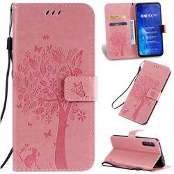 Embossing Butterfly Tree Leather Wallet Case for Huawei Honor 9X Pro - Pink