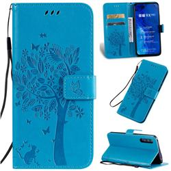 Embossing Butterfly Tree Leather Wallet Case for Huawei Honor 9X Pro - Blue