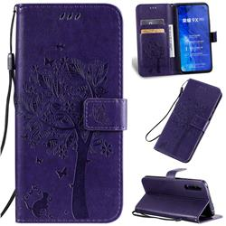 Embossing Butterfly Tree Leather Wallet Case for Huawei Honor 9X Pro - Purple