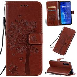Embossing Butterfly Tree Leather Wallet Case for Huawei Honor 9X Pro - Coffee