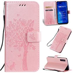 Embossing Butterfly Tree Leather Wallet Case for Huawei Honor 9X Pro - Rose Pink