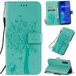 Embossing Butterfly Tree Leather Wallet Case for Huawei Honor 9X Pro - Cyan