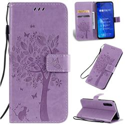 Embossing Butterfly Tree Leather Wallet Case for Huawei Honor 9X Pro - Violet