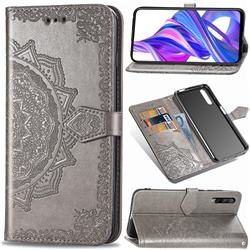 Embossing Imprint Mandala Flower Leather Wallet Case for Huawei Honor 9X Pro - Gray