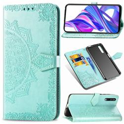 Embossing Imprint Mandala Flower Leather Wallet Case for Huawei Honor 9X Pro - Green