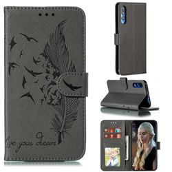 Intricate Embossing Lychee Feather Bird Leather Wallet Case for Huawei Honor 9X Pro - Gray