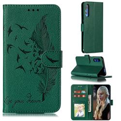 Intricate Embossing Lychee Feather Bird Leather Wallet Case for Huawei Honor 9X Pro - Green
