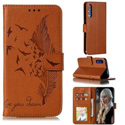 Intricate Embossing Lychee Feather Bird Leather Wallet Case for Huawei Honor 9X Pro - Brown