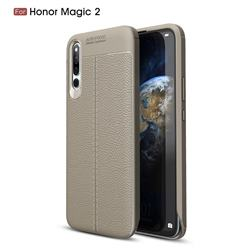 Luxury Auto Focus Litchi Texture Silicone TPU Back Cover for Huawei Honor Magic 2 - Gray