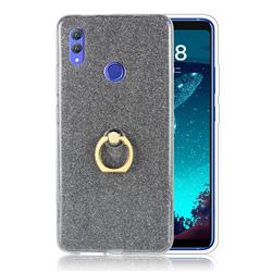 Luxury Soft TPU Glitter Back Ring Cover with 360 Rotate Finger Holder Buckle for Huawei Honor Note 10 - Black