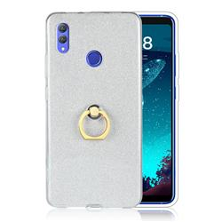 Luxury Soft TPU Glitter Back Ring Cover with 360 Rotate Finger Holder Buckle for Huawei Honor Note 10 - White