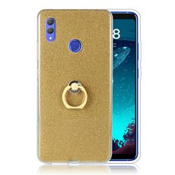 Luxury Soft TPU Glitter Back Ring Cover with 360 Rotate Finger Holder Buckle for Huawei Honor Note 10 - Golden