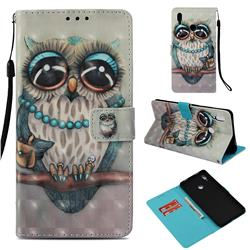 Sweet Gray Owl 3D Painted Leather Wallet Case for Huawei Honor Note 10
