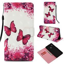 Rose Butterfly 3D Painted Leather Wallet Case for Huawei Honor Note 10