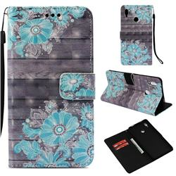 Blue Flower 3D Painted Leather Wallet Case for Huawei Honor Note 10