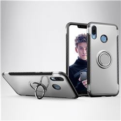 Armor Anti Drop Carbon PC + Silicon Invisible Ring Holder Phone Case for Huawei Honor Play(6.3 inch) - Silver