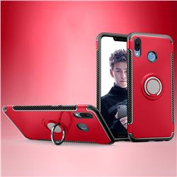 Armor Anti Drop Carbon PC + Silicon Invisible Ring Holder Phone Case for Huawei Honor Play(6.3 inch) - Red