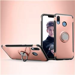Armor Anti Drop Carbon PC + Silicon Invisible Ring Holder Phone Case for Huawei Honor Play(6.3 inch) - Rose Gold