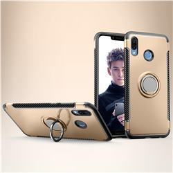 Armor Anti Drop Carbon PC + Silicon Invisible Ring Holder Phone Case for Huawei Honor Play(6.3 inch) - Champagne