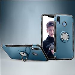 Armor Anti Drop Carbon PC + Silicon Invisible Ring Holder Phone Case for Huawei Honor Play(6.3 inch) - Navy
