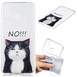 Cat Say No Clear Varnish Soft Phone Back Cover for Huawei Honor Play(6.3 inch)