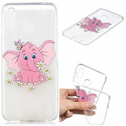 Tiny Pink Elephant Clear Varnish Soft Phone Back Cover for Huawei Honor Play(6.3 inch)