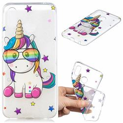 Glasses Unicorn Clear Varnish Soft Phone Back Cover for Huawei Honor Play(6.3 inch)