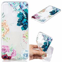 Gem Flower Clear Varnish Soft Phone Back Cover for Huawei Honor Play(6.3 inch)