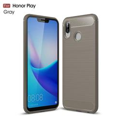 Luxury Carbon Fiber Brushed Wire Drawing Silicone TPU Back Cover for Huawei Honor Play(6.3 inch) - Gray