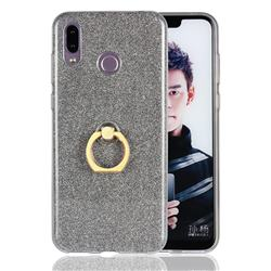 Luxury Soft TPU Glitter Back Ring Cover with 360 Rotate Finger Holder Buckle for Huawei Honor Play(6.3 inch) - Black