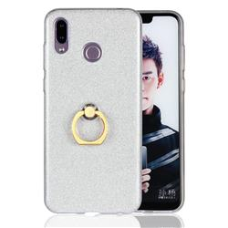 Luxury Soft TPU Glitter Back Ring Cover with 360 Rotate Finger Holder Buckle for Huawei Honor Play(6.3 inch) - White