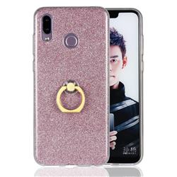 Luxury Soft TPU Glitter Back Ring Cover with 360 Rotate Finger Holder Buckle for Huawei Honor Play(6.3 inch) - Pink