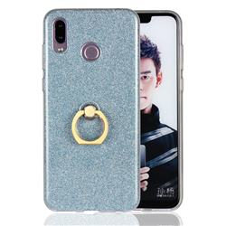 Luxury Soft TPU Glitter Back Ring Cover with 360 Rotate Finger Holder Buckle for Huawei Honor Play(6.3 inch) - Blue