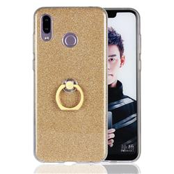 Luxury Soft TPU Glitter Back Ring Cover with 360 Rotate Finger Holder Buckle for Huawei Honor Play(6.3 inch) - Golden
