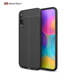 Luxury Auto Focus Litchi Texture Silicone TPU Back Cover for Huawei Honor Play 3 - Black