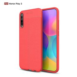 Luxury Auto Focus Litchi Texture Silicone TPU Back Cover for Huawei Honor Play 3 - Red