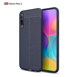 Luxury Auto Focus Litchi Texture Silicone TPU Back Cover for Huawei Honor Play 3 - Dark Blue