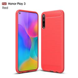 Luxury Carbon Fiber Brushed Wire Drawing Silicone TPU Back Cover for Huawei Honor Play 3 - Red