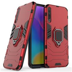Black Panther Armor Metal Ring Grip Shockproof Dual Layer Rugged Hard Cover for Huawei Honor Play 3 - Red