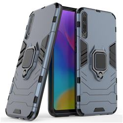 Black Panther Armor Metal Ring Grip Shockproof Dual Layer Rugged Hard Cover for Huawei Honor Play 3 - Blue